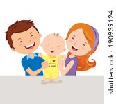 Happy parent and baby. Vector illustration of a father and mother with their infant baby standing up.