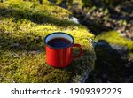 Red Cup Of Tea On Moss In The...