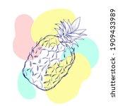 tropical pineapple or ananas...   Shutterstock .eps vector #1909433989