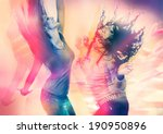 Stock photo arty picture of two girls dancing 190950896