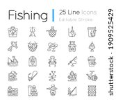 fishing equipment linear icons... | Shutterstock .eps vector #1909525429