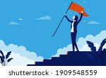 successful woman on top of the...   Shutterstock .eps vector #1909548559
