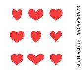 heart icon set. simple heart... | Shutterstock .eps vector #1909610623