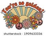 retro groovy you're so golden... | Shutterstock .eps vector #1909633336
