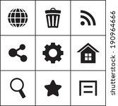 set of flat simple web icons ...