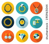 Set of jewelry vector flat icons