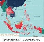 south east asia region detailed ... | Shutterstock .eps vector #1909650799