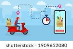 scooter with food delivery....   Shutterstock .eps vector #1909652080