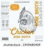 chicken bone broth label... | Shutterstock .eps vector #1909680409