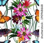 Seamless Pattern Of Butterflie...