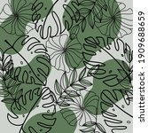 pattern of leaves and flowers... | Shutterstock . vector #1909688659