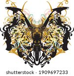 golden and floral butterfly... | Shutterstock .eps vector #1909697233