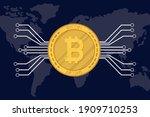 bitcoin with circuit and earth... | Shutterstock .eps vector #1909710253