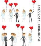 set of wedding pictures  bride... | Shutterstock .eps vector #190977839