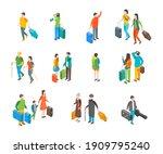 isometric travel people...   Shutterstock . vector #1909795240