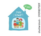 family at home is wearing face... | Shutterstock .eps vector #1909807009