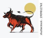 ox bull or cow paint brush... | Shutterstock .eps vector #1909812763