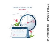 daylight saving time begins... | Shutterstock .eps vector #1909814623