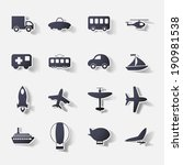 Paper clipped sticker: transport Set. Isolated illustration icon - stock vector