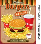 vintage burgers with fries and... | Shutterstock .eps vector #190983869