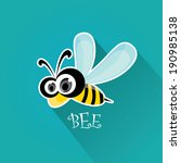 vector bee flat icon. cartoon cute bright baby bee on stylish turquoise background. vector illustration.