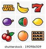 gambling   slot machine icons   ...   Shutterstock .eps vector #190986509