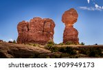 Balanced Rock and other Sandstone Formations along the Arches Scenic Drive in Arches National Park near Moab, Utah, United States