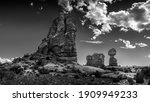 Black and White Photo of Balanced Rock and other Sandstone Formations along the Arches Scenic Drive in Arches National Park near Moab, Utah, United States