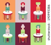 cafe  six women at a table with ... | Shutterstock .eps vector #190995386
