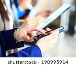 businessman using modern... | Shutterstock . vector #190995914