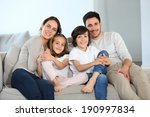 happy family sitting together... | Shutterstock . vector #190997834