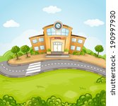 illustration of school building. | Shutterstock .eps vector #190997930