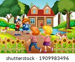 outdoor scene with many... | Shutterstock .eps vector #1909983496