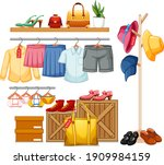 isolated clothes on the rack... | Shutterstock .eps vector #1909984159