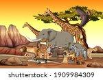 group of wild african animal in ...   Shutterstock .eps vector #1909984309