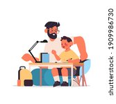 young father helping son doing... | Shutterstock .eps vector #1909986730