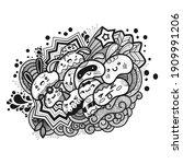 cartoon cute doodles hand drawn ... | Shutterstock .eps vector #1909991206