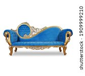 Tufted Blue Velvet Chaise...