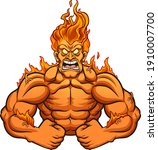 strong man  on fire screaming... | Shutterstock .eps vector #1910007700