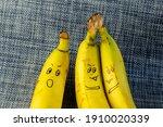 Three Ripe Bananas With Faces....