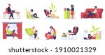 freelance working people. young ... | Shutterstock . vector #1910021329