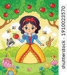 little cute beautiful princess...   Shutterstock .eps vector #1910023570