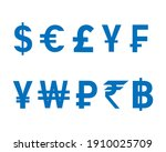 currency icon set design blue...