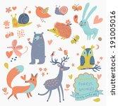 vector set of cute wild animals ... | Shutterstock .eps vector #191005016
