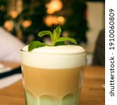 favourite drink. raf with milk  ... | Shutterstock . vector #1910060809