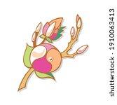 brooch golden magnolia branch... | Shutterstock .eps vector #1910063413