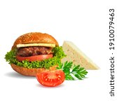 hamburger low poly. fresh ... | Shutterstock .eps vector #1910079463