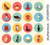 woman fashion and beauty vector colorful flat style icons set. clothing, gifts, make up, shopping