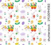 seamless easter pattern vector... | Shutterstock .eps vector #1910094583