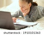 cute child use laptop for... | Shutterstock . vector #1910101363